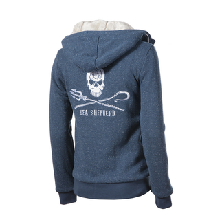 Ladies furry Hoody (zip up) SEA SHEPHERD Blue Fleck XS