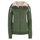 Ladies furry Hoody (zip up) olive fleck S